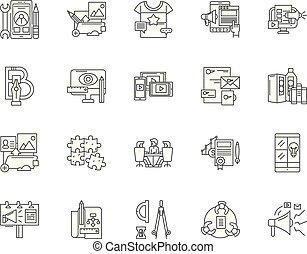 Agile-Entwicklungslinien-Icons, Zeichen, Vektor-Set, umrissenes Illustrationskonzept.
