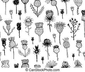 Agrimony Pflanzen nahtlos Muster, Sketch für Ihr Design