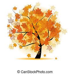 Ahornbaum, Herbstblatt fallen.