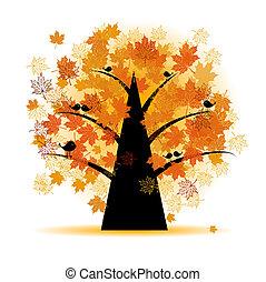 Ahornbaum, Herbstblatt fallen