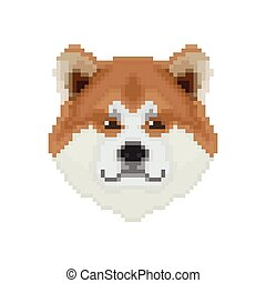 Akita Inu Hundekopf in Pixel Art Stil.