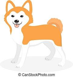 Akita Inu züchten Hunde Icon, flach, Zeichentrick-Stil. Ein niedliches Hündchen, isoliert auf weißem Hintergrund. Vector Illustration, Clip-Art.
