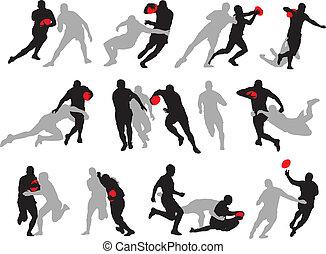aktiv, silhouette, posen, gruppe, rugby