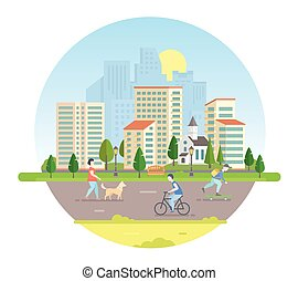 Aktive Bürger - moderne Vektorgrafik in einem runden Rahmen