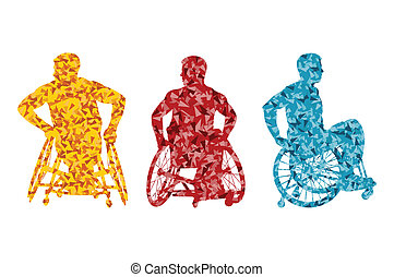 Aktive behinderte Männer im Rollstuhl.