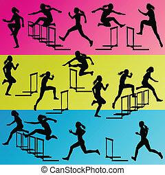 Aktive Frauen-Mädchen Sport-Attraktivität hebt die Barriere mit Silhouetten Illustration Hintergrundvektor ab.