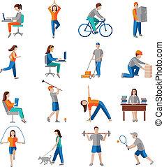 aktivität, physisch, heiligenbilder
