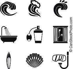 Aktivität von Wasser Icons gesetzt, einfache Stil