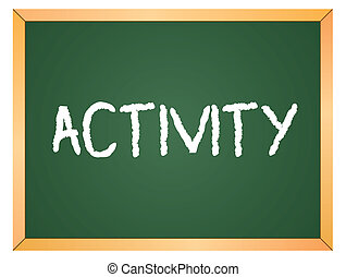 Aktivitätswort auf Kreidetafel