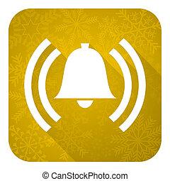 Alarm-Flach-Symbol, goldener Weihnachtsknopf, Alarmzeichen, Glockensymbol.
