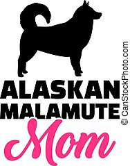 Alaskan Malamute Mutter Silhouette.