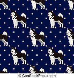 alaskisch malamute, hund, seamless, muster