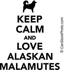 alaskisch malamutes, liebe, gelassen, behalten