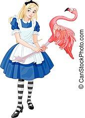 Alice spielt Krocket.