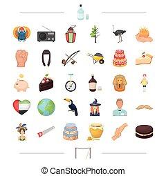 Alkohol, Geschichte, Kochen und andere Web-Icon in Zeichentrick-Stil.magic, Zirkus, Reise-Icons in Set-Sammlung.