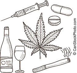 alkohol, marihuana, -, abbildung, betäubungsmittel, andere