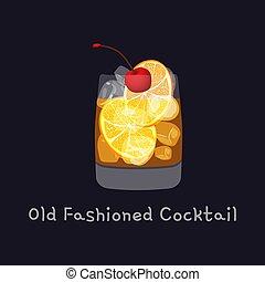 alkoholiker, schmackhaft, scheibe, garnierung, zitronenschale, altes , schwarz, kirschen, freigestellt, cocktail, abbildung, würfel, gestaltet, eis, vektor, orange, hintergrund.