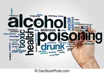 Alkoholvergiftende Wortwolke auf grauem Hintergrund.