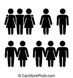 Allein, zwei und drei menschliche Ikonen. Sexuelle Beziehungen. Vector