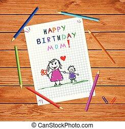 Alles Gute zum Geburtstag. Kleine Zeichnung von Vater und Sohn