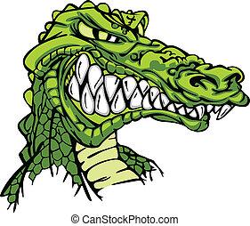 Alligator-Maskott-Vektor-Zeichentrickfilm