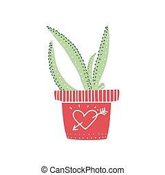 Aloe Haus Pflanze wächst in Pot, Design Element für die natürliche Inneneinrichtung Vektorgrafik.