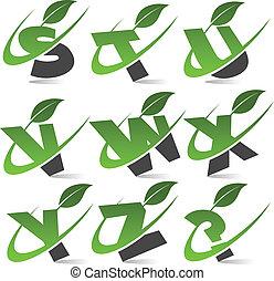 alphabet, 3, satz, grün, swoosh