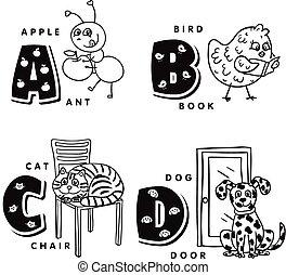 Alphabet A B C D mit Ameise, Vogel, Katze und Hund. Vector Alphabet