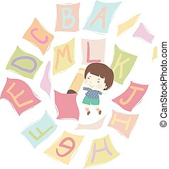 alphabet, bleistift, fliegendes, papiere, kind, junge, abbildung