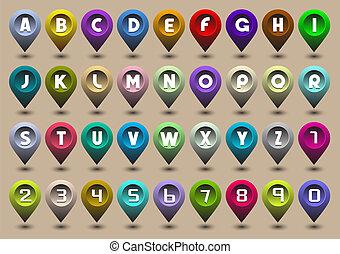 Alphabet-Briefe und Nummern in Form von GPS-Ikonen