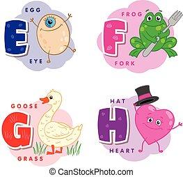 Alphabet Buchstabe E F G H ein Ei, Frosch, Gans, Herz