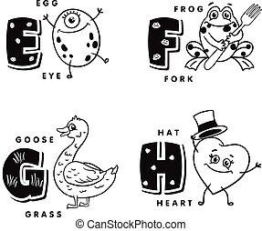Alphabet Buchstabe E F G H mit einem Ei, Frosch, Gans und Herz. Vector Alphabet