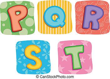 Alphabet Buchstaben P Q R S T.