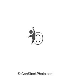 alphabet, ikone, o, front, kreativ, brief, sucsess, mann, design, abstrac, logo