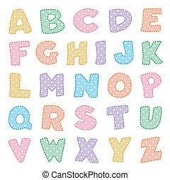 Alphabet, Pastellen mit Polka-Punkten