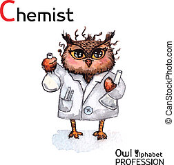 Alphabet-Profis, Eule Chemiker Charakter auf einem weißen Hintergrund Vektor Wasserfarbe.