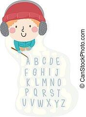 alphabet, schnee, schreiben, kind, junge, abbildung, stock