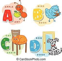 Alphabet schreibt eine Ameise B C D, Vogel, Katze, Hund