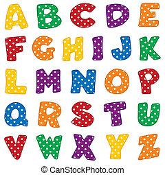 Alphabet, weiße Polka-Punkte