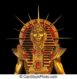 Alte ägyptische Pharao-Statue auf schwarz