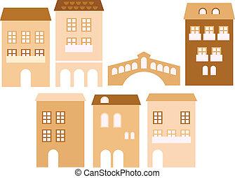 Alte europäische Stadthäuser isoliert auf weiß ( beige).