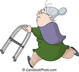 Alte Frau, die mit Walker läuft.
