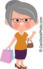 Alte Frau mit Einkaufstüten. Vector Illustration.