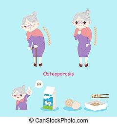 Alte Frau mit Osteoporose.