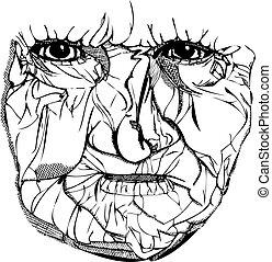 Alte Frau, runzliges Gesicht