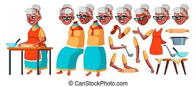 Alte Frauenvektoren. Senior Person Portrait. Ältere Menschen. Alter. Schwarz. Afro-Amerikaner. Animations-Erstellung eingestellt. Mit Gefühlen, Gesten. Komischer Rentner. Lifestyle. Animiert. Kartoon Illustration