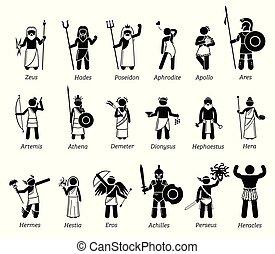 Alte griechische Mythologie-Götter und Göttinnen Zeichen Symbol gesetzt.