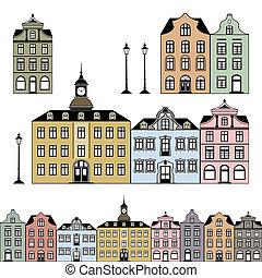 Alte Häuser verfilmen Vektoren