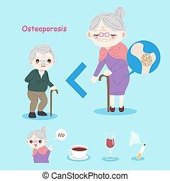 Alte Leute mit Osteoporose.