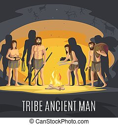 Alte Männer, die in der Höhle Feuer machen
